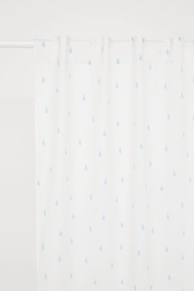 Patterned curtain length - Natural white/Raindrops - Home All | H&M CN