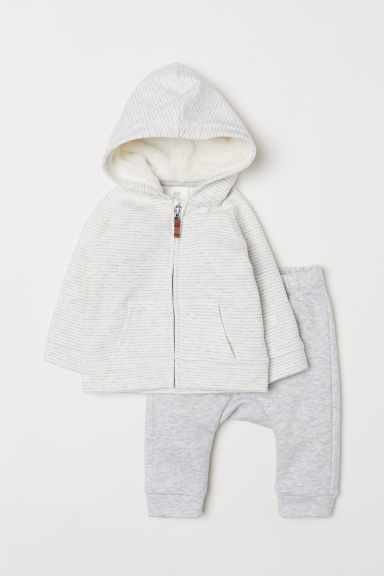 Hooded jacket and trousers - Light grey marl/Striped -  | H&M CN