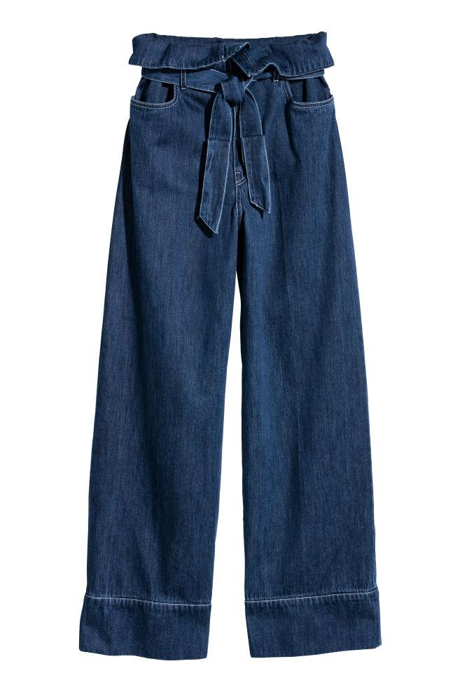 9aa0bc73cb Wide denim tie-belt trousers - Denim blue - Ladies | H&M ...