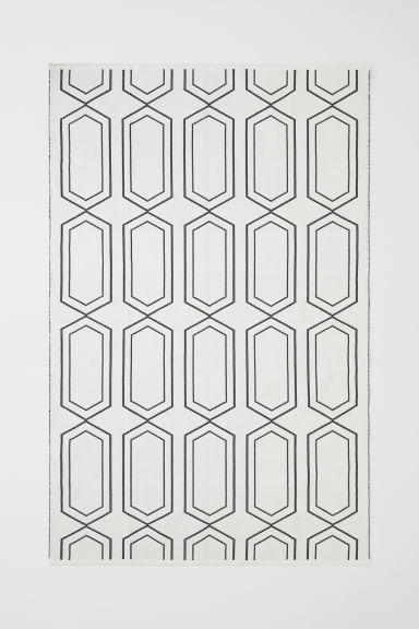 Jacquard-weave cotton rug - White/Anthracite grey - Home All | H&M CN