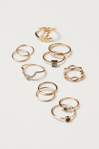11-pack rings - Gold-coloured - Ladies | H&M
