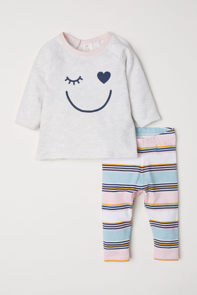 Top and leggings - Light grey marl/Striped - Kids | H&M