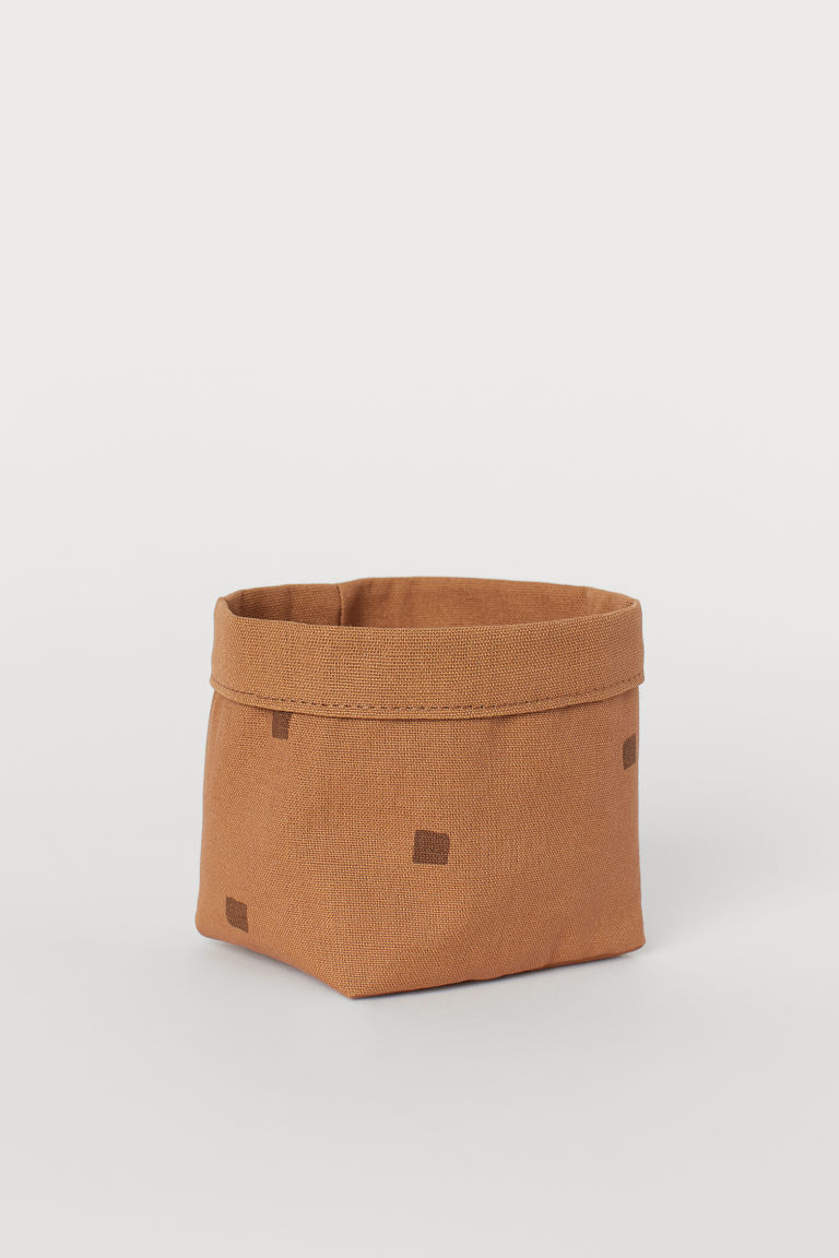 Small canvas storage basket - Brown/Patterned - Home All | H&M GB