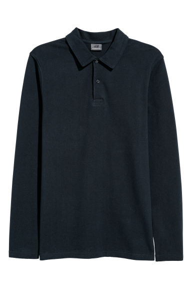 Premium cotton polo shirt - Dark blue -  | H&M