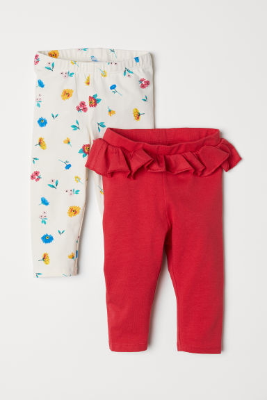 2-pack leggings - Red/Floral - Kids | H&M