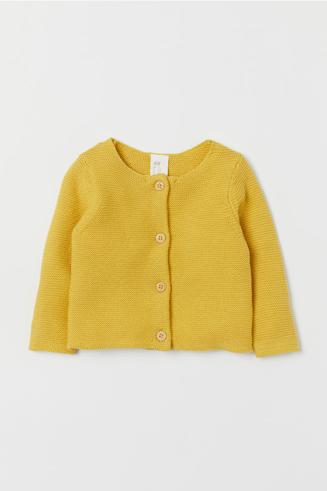 de17acdaabfb Garter-stitch cotton cardigan - Yellow - Kids