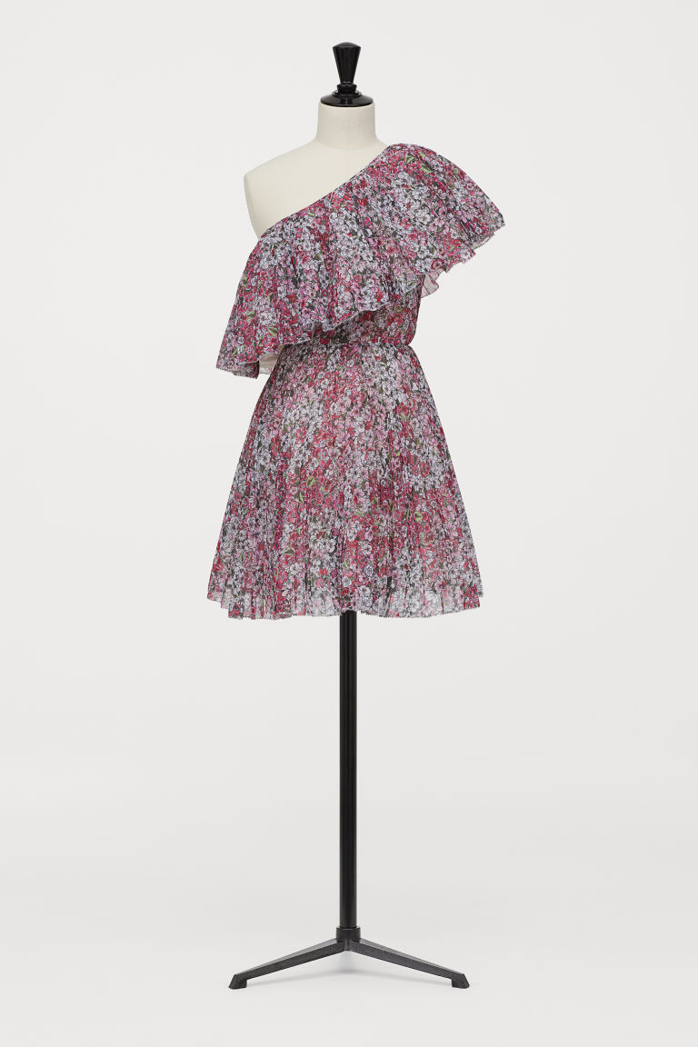 One-shoulder dress - Pink/Floral - Ladies | H&M CN