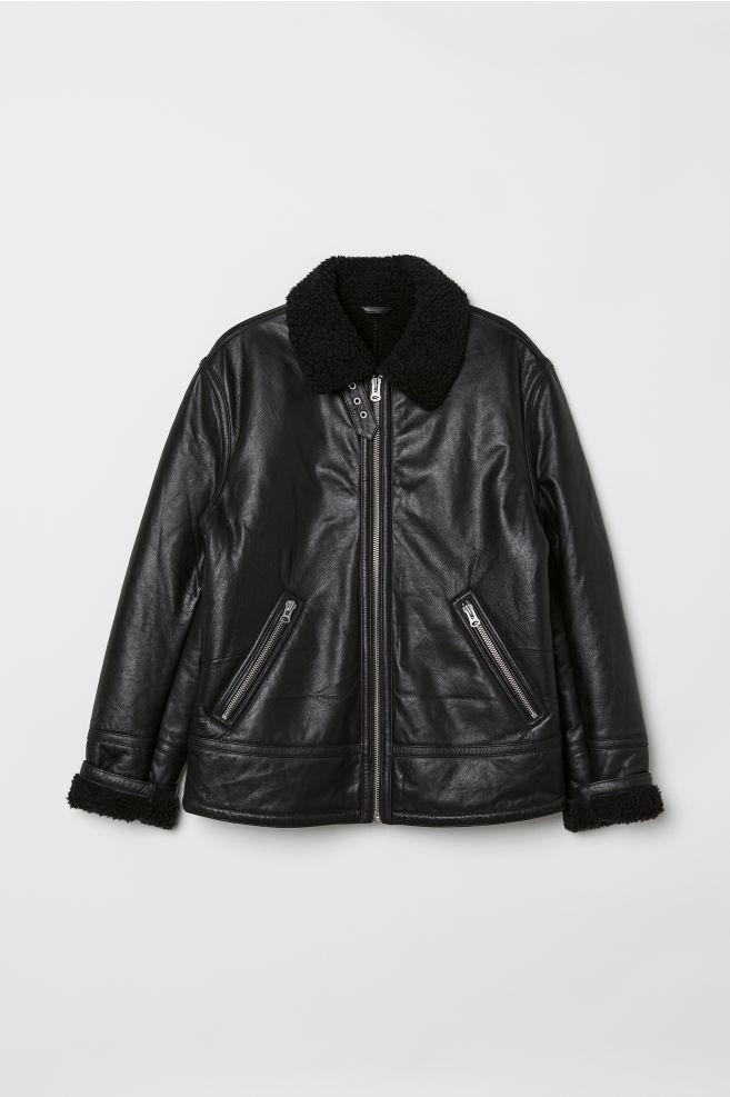 ... Zateplené kožená bunda - Černá - MUŽI  bb0386c8519