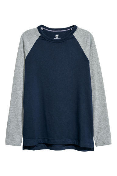 Long-sleeved T-shirt - Dark blue/Grey -  | H&M CN