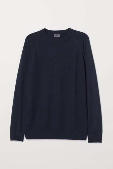 Cashmere-blend jumper - Dark blue - Men | H&M CN