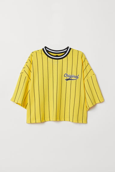 Wide T-shirt - Yellow/Striped -  | H&M