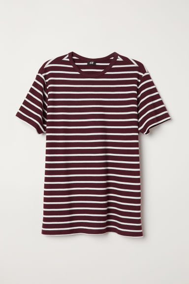 Cotton Piqué T-shirt - Burgundy/white striped - Men | H&M US
