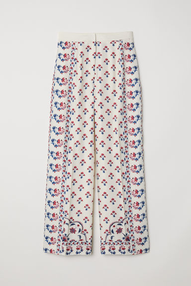Wide trousers - Natural white/Floral - Ladies | H&M