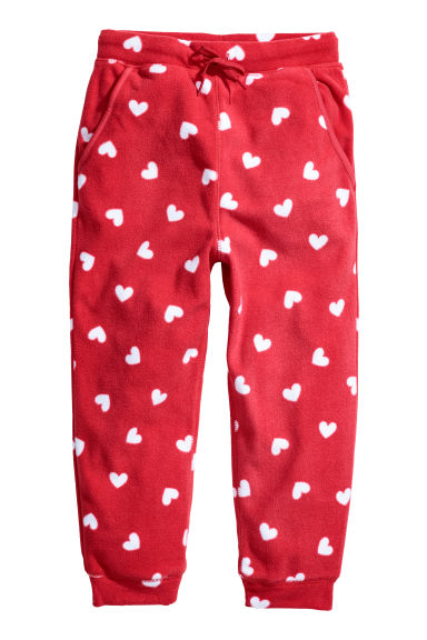 Fleece trousers - Red/Hearts -  | H&M