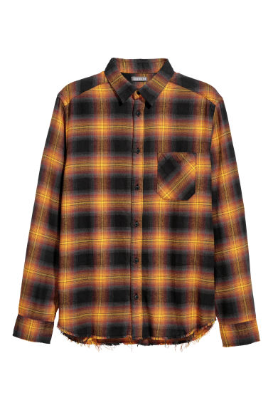 Checked flannel shirt - Dark orange/Checked - Men | H&M