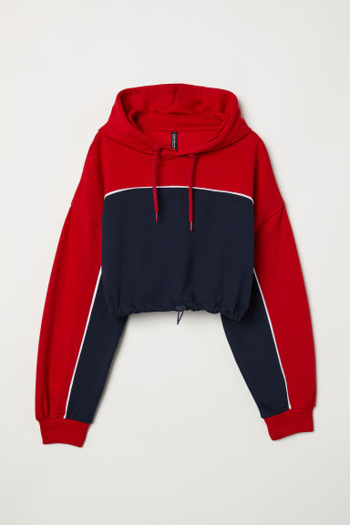 Short hooded top - Dark blue/Red -  | H&M