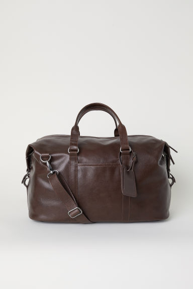 Leather weekend bag - Dark brown - Men | H&M