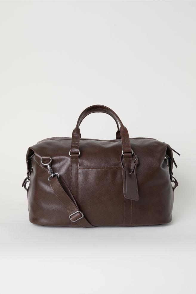 5a4bf41eda41 Leather Weekend Bag - Dark brown - Men