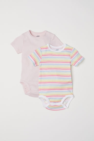 2-pack short-sleeved bodysuits - Light pink/Multistripes -  | H&M