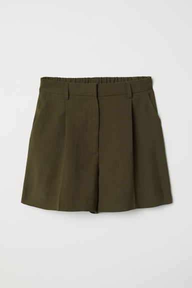 Shorts with creases - Dark khaki green - Ladies | H&M