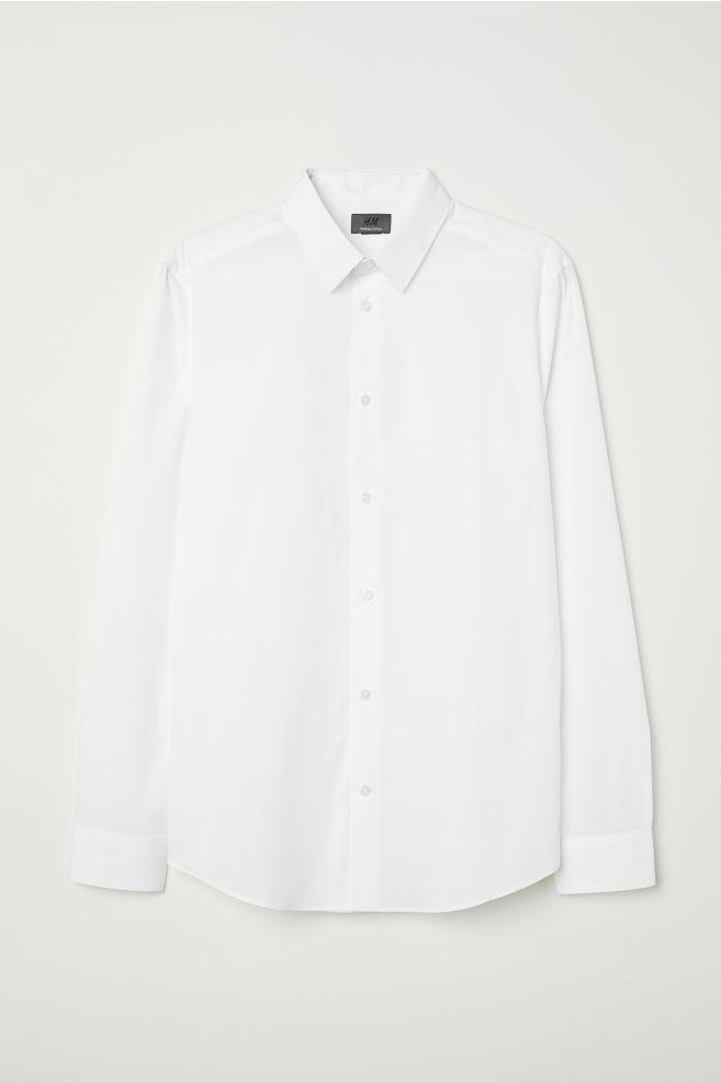 Wit Getailleerd Overhemd.Overhemd Van Premium Cotton Wit Heren H M Nl