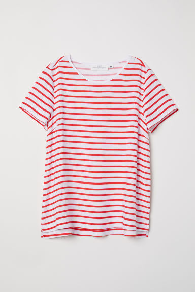 Short-sleeved blouse - White/Red striped - Ladies | H&M