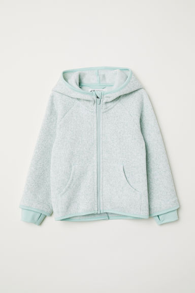Knitted fleece jacket - Light green marl - Kids | H&M CN