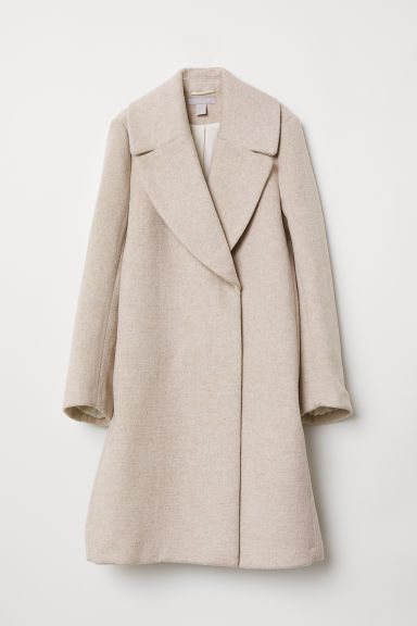 Double-breasted coat - Light beige marl - Ladies | H&M CN