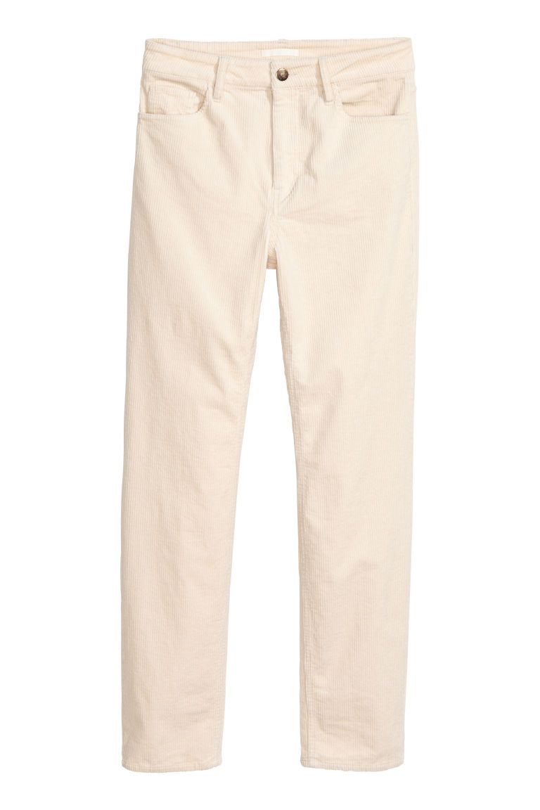 Ankle-length corduroy trousers - Natural white - Ladies | H&M IE