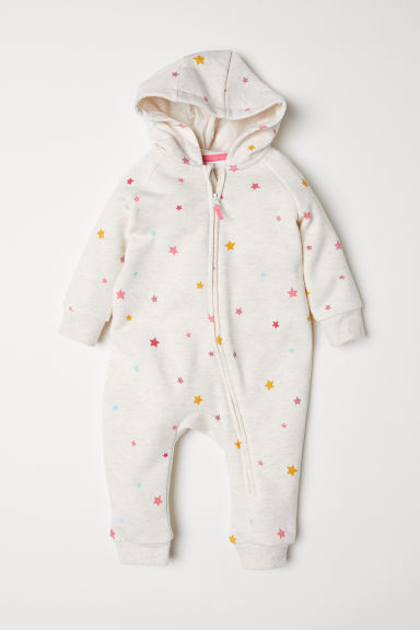 Sweatshirt all-in-one suit - Light beige marl/Stars - Kids | H&M
