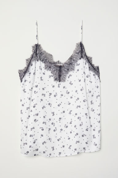 H&M+ Satin cami with lace - Natural white/Floral - Ladies | H&M CN