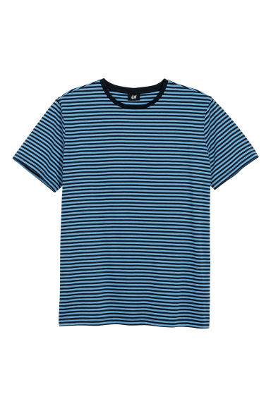 Striped T-shirt - Dark blue/Blue striped - Men | H&M CN