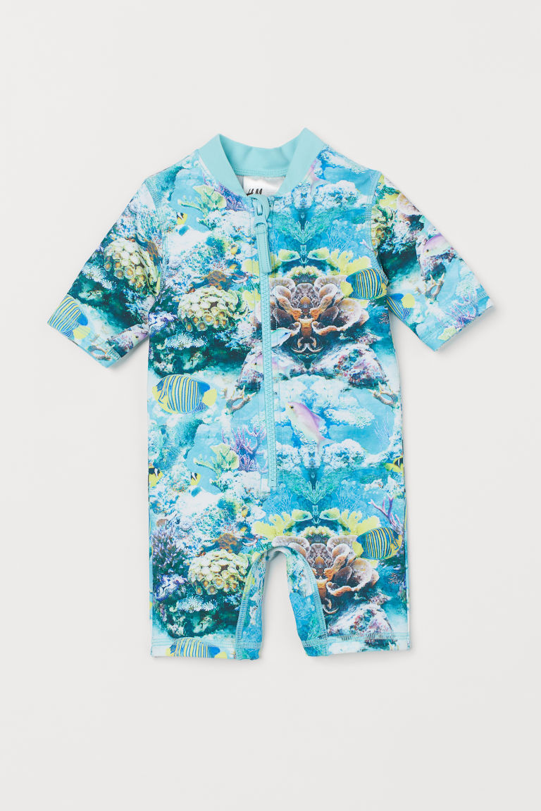 Swimsuit with UPF 50 - Light turquoise/Fish - Kids | H&M