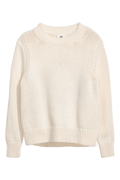 Chunky-knit jumper - Natural white - Men | H&M CN