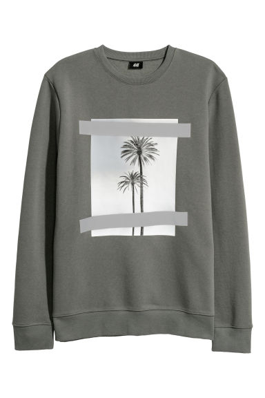 Sweatshirt with motifs - Dark dusky green -  | H&M