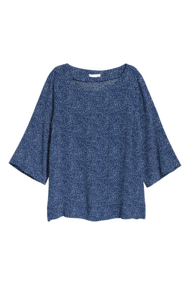 Short-sleeved blouse - Dark blue/Patterned - Ladies | H&M CN
