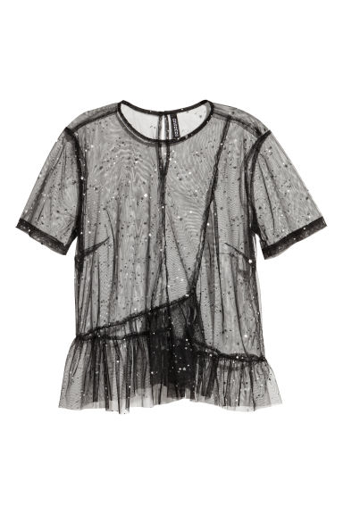 Top van mesh - Zwart - DAMES | H&M BE