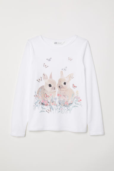 Printed jersey top - White/Rabbits - Kids | H&M CN