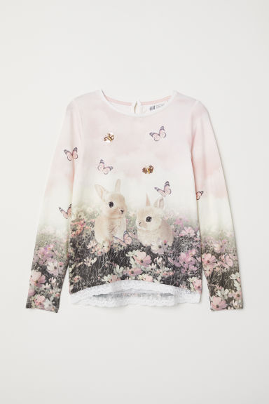 Lace-trimmed jersey top - Light pink/Bunnies - Kids | H&M CN