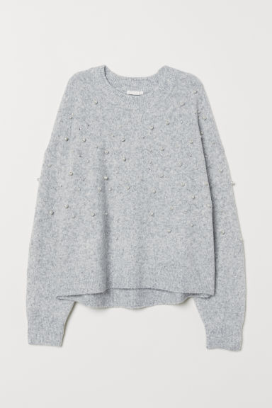 Bead-embroidered Sweater - Light gray melange - Ladies | H&M CA