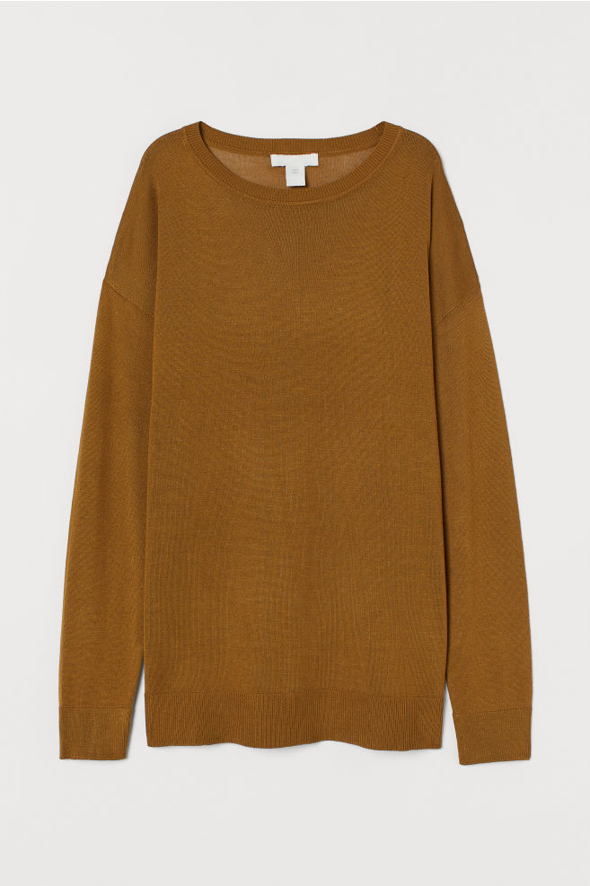 Fine-knit jumper - Olive green - Ladies | H&M IN