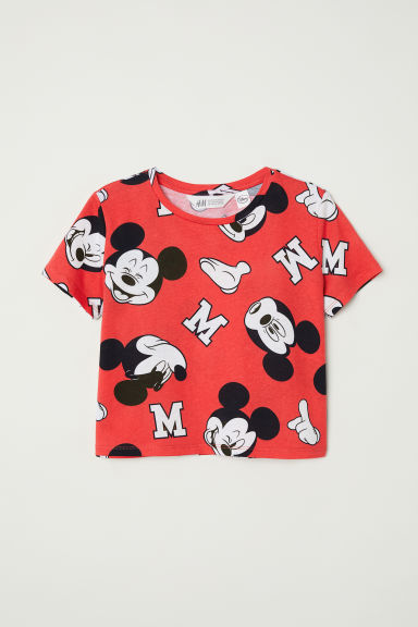 Printed T-shirt - Red/Mickey Mouse -  | H&M CN