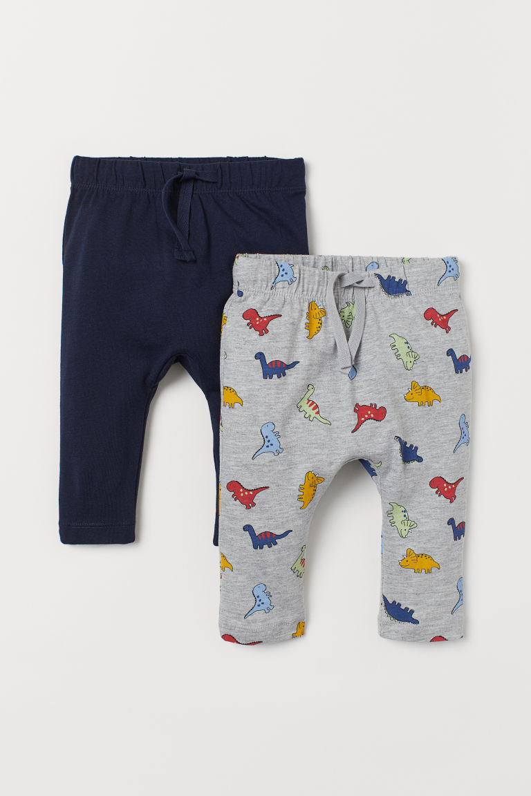 2-pack Jersey Pants - Gray melange/dinosaurs - Kids | H&M US