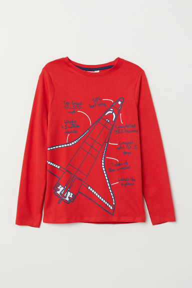 Printed jersey top - Red/Space shuttle - Kids | H&M
