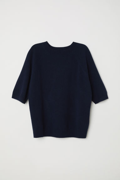 Short-sleeved cashmere jumper - Dark blue - Ladies | H&M IE