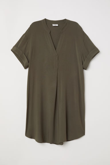 V-neck dress - Dark khaki green - Ladies | H&M CN
