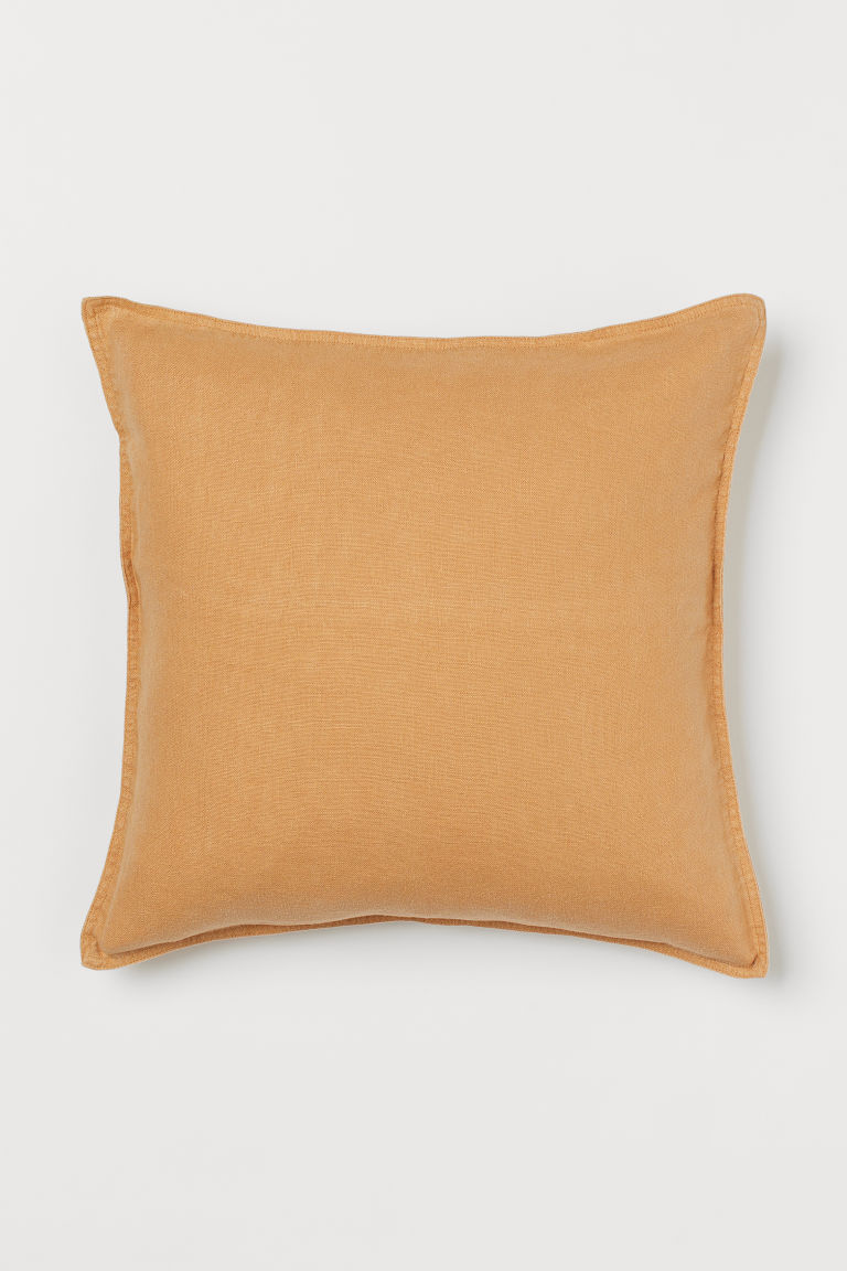 Washed linen cushion cover - Light ochre - Home All | H&M GB