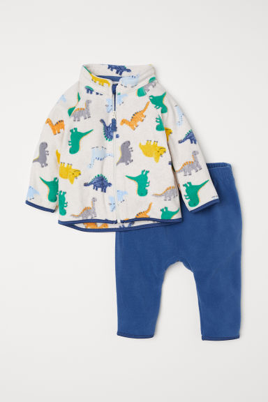 Fleece jacket and trousers - Blue/Dinosaurs -  | H&M CN