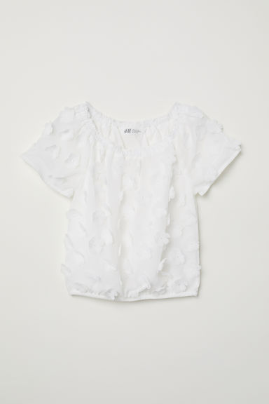 Blouse with appliqués - White -  | H&M