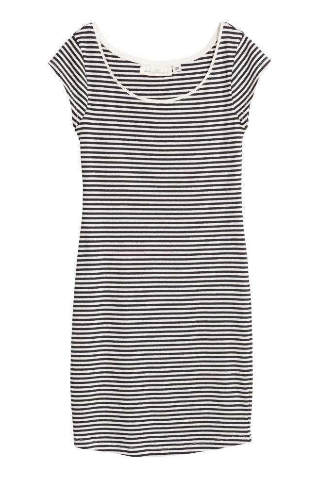 40033445458e Fitted jersey dress - Dark grey/Striped - Ladies   H&M 1